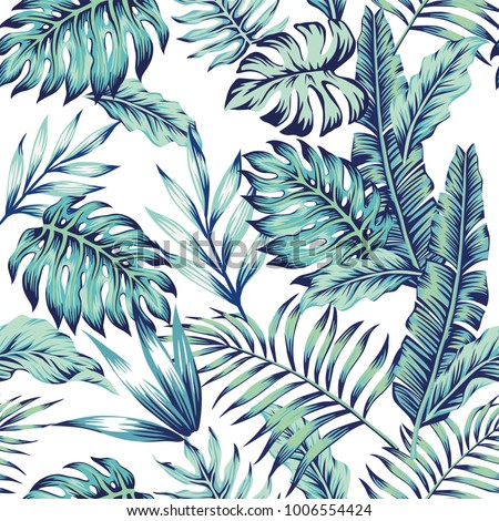 Exotic abstract vector blue jungle seamless pattern on the white background. Trendy art beach print wallpaper