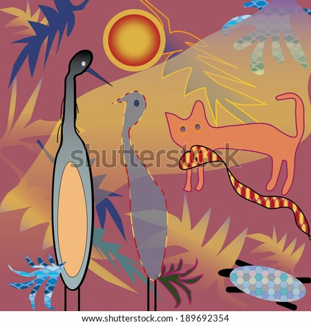 Exotic animals and birds in jungle