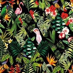 Exotic beach trendy seamless pattern, patchwork illustrated floral vector tropical banana leaves, hibiscus flower, lilies, plumeria. Jungle parrots and pink flamingos wallpaper print black background