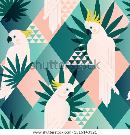Exotic beach trendy seamless pattern, patchwork illustrated floral vector tropical leaves. Jungle cockatoo. Wallpaper print background mosaic.
