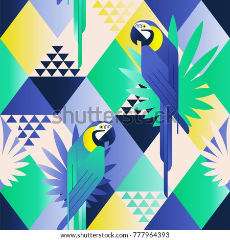 Exotic beach trendy seamless pattern, patchwork illustrated floral vector tropical leaves. Jungle blue parrots. Wallpaper print background mosaic