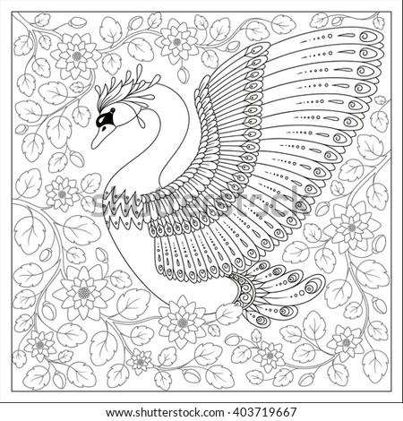 Exotic BirdFantastic Flowers LeavesHand Drawing