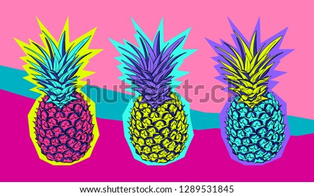 Exotic Bright colored Tropical pineapples in a Zine Culture style. Comic set, t-shirt composition, hand drawn style print. Vector illustration.