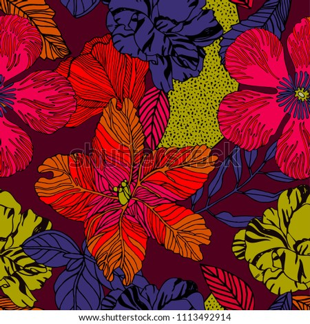 Exotic bright print design with tropical flowers.