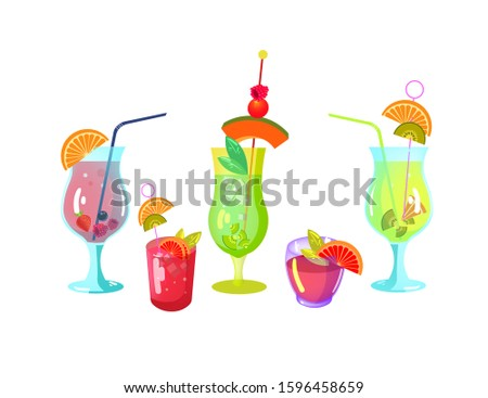 Exotic cocktails on background. Alcoholic summer liquid drinks in glass. Alcohol drinks collection for website.  cocktails and drinks. Alcohol drinks collection for party. Bar drink vector icons set