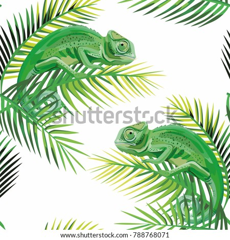 Exotic composition seamless pattern lizard chameleon on the banana leaves white background