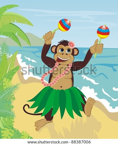 Exotic cute dancing monkey on beach