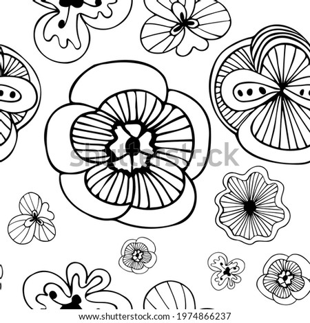 Exotic doodle flowers black and white seamless pattern, hand drawn flowers repeat pattern, funky doodle flowers, unusual fantasy blossoms black and white, floral pattern