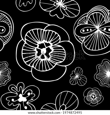 Exotic doodle flowers black on white seamless pattern, hand drawn flowers repeat pattern, funky doodle flowers, unusual fantasy blossoms black and white, floral pattern