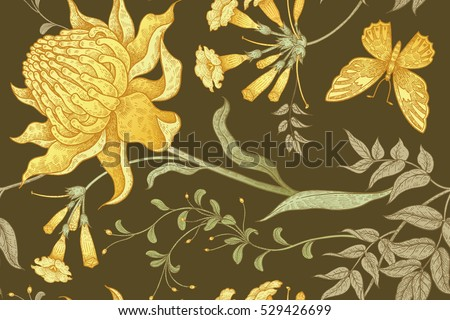 Exotic flowers and butterflies. Seamless vector floral pattern in style vintage luxury fabrics. Unusual color art illustration for the creation of textiles, paper, curtains, clothing, case phone cover