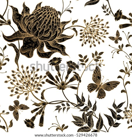 Exotic flowers and butterflies. Seamless vector floral pattern style vintage luxury fabrics. Unusual art illustration for textiles, paper, curtains, clothing, case phone cover. White, black, gold foil