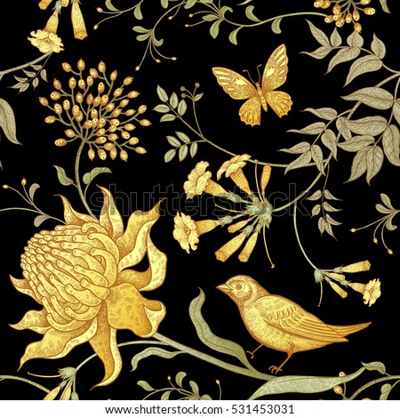 Exotic flowers, birds and butterflies. Seamless vector floral pattern in style vintage luxury fabrics. Unusual art illustration for paper, curtains, clothing, case phone, cover. Black and gold foil.