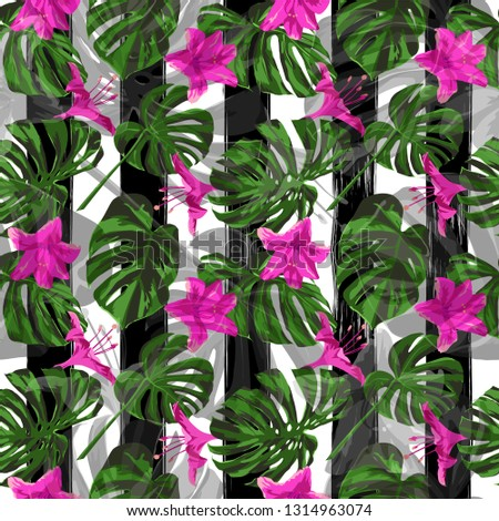 Exotic Flowers. Exotic Palm Greenery Backdrop. Repeating Illustration. Summer Design for Swimwear. Exotic Flowers and Leaves Print.