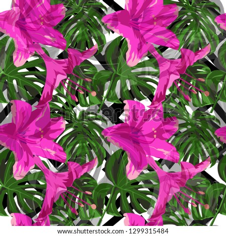 Exotic Flowers. Exotic Palm Greenery Backdrop. Summer Design for Swimwear. Repeat Illustration. Exotic Flowers and Leaves Print.