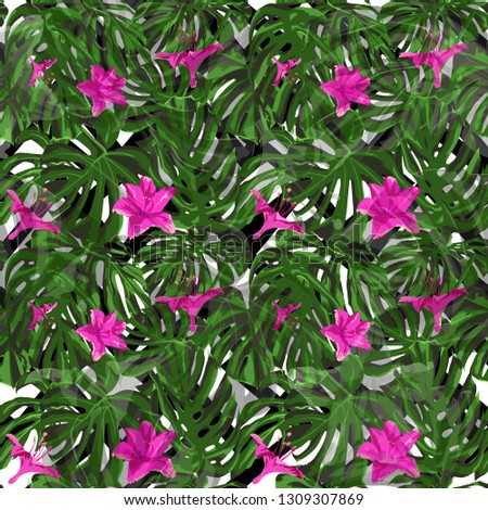 Exotic Flowers. Exotic Palm Greenery Backdrop. Summer Design for Swimwear. Repeating Illustration. Exotic Flowers and Leaves Print.