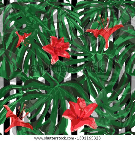 Exotic Flowers. Exotic Palm Greenery Backdrop. Summer Design for Swimwear. Seamless Illustration. Exotic Flowers and Leaves Print.
