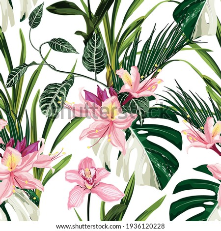 Exotic flowers pattern. Pink Oleander Rhododendron tropical flowers and palm leaves in summer print. Hawaiian t-shirt and swimwear tile.