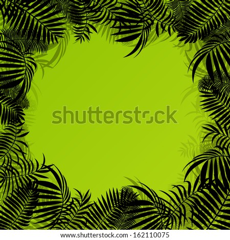 Exotic forest jungle leaves, grass and herbs wild untamed nature landscape illustration background vector