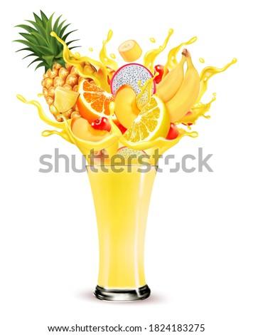 exotic fruit juice splash