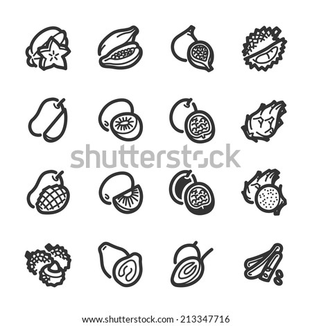 exotic fruits icons