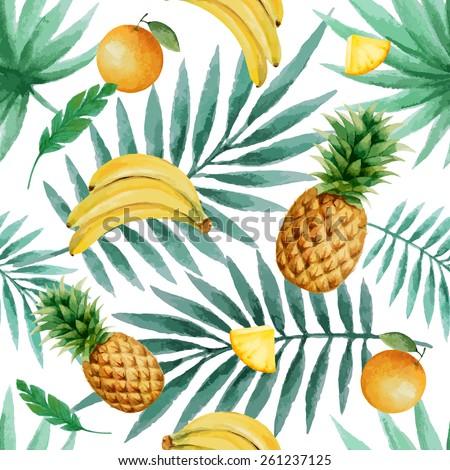exotic fruits  seamless pattern