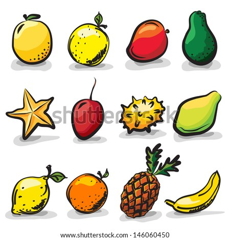 Fruit Sketch Drawing Exotic Fruits Sketch Drawing