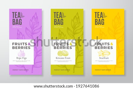 Exotic Fruits Tea Labels Set. Vector Packaging Design Layouts Bundle. Modern Typography, Hand Drawn Tea Leaves, Figs, Kiwano and Starfruit Silhouettes Background. Beverage Banners. Isolated.