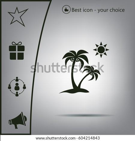exotic island web icon vector