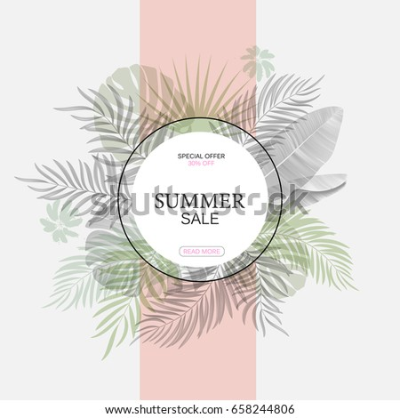 Exotic leaf round banner. Trendy vector design. Tropical leaves background. Vector
