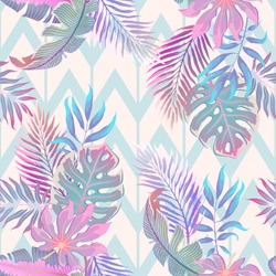 Exotic leaves and flowers on geometric ornament. Seamless tropical pattern. Vector background with plants and flowers in light pastel palette