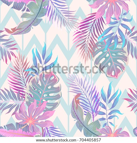 exotic leaves and flowers on