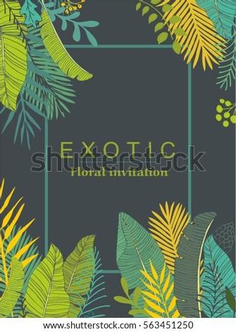 Exotic leaves design. Vector illustration.