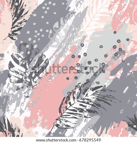 Exotic leaves on abstract background. Modern vector illustration with tropical leaves, grunge textures, rough brush strokes, doodles, minimal elements. Creative seamless pattern