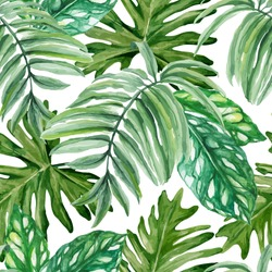 Exotic leaves, rainforest. Seamless, hand painted, watercolor pattern. Vector background.