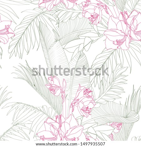 Exotic line tropical leaves and flowers on white background. Floral seamless pattern. Tropical illustration. Summer beach design. Paradise nature.