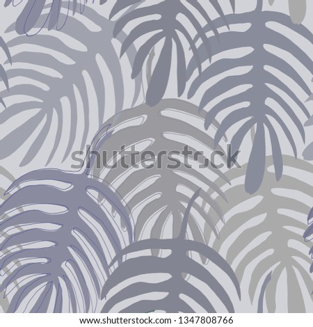 Exotic Monstera liana leaf silhouette hand-drawn in gray green, gray purple and gray beige colors seamless pattern on light grey background.