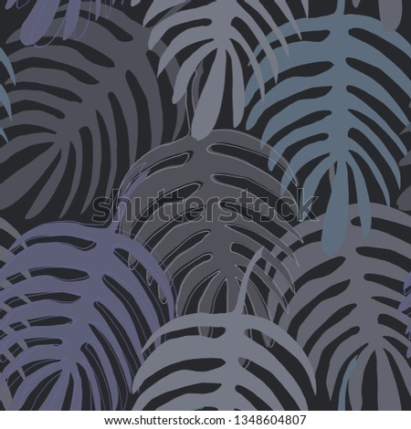 Exotic Monstera liana leaf silhouette hand-drawn in gray green, gray purple and gray beige colors seamless pattern on dark grey background.