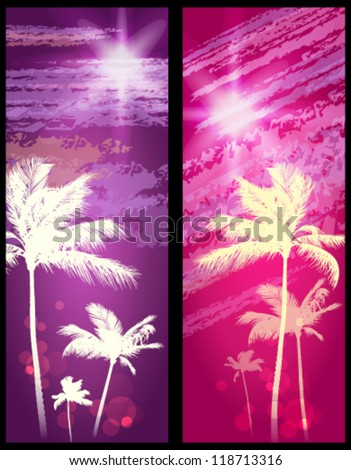 Exotic palm trees background banners stock vector illustration 118713316 shutterstock - Tell tree dying order save ...