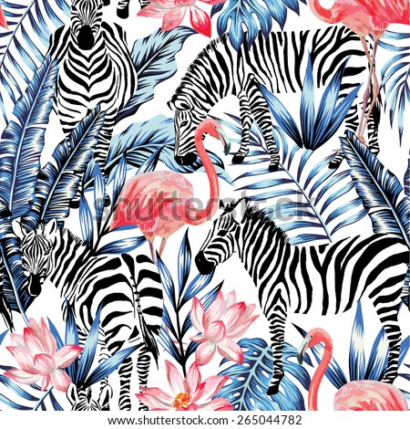 Exotic pink flamingo, zebra on background summer blue tropic palm leaf. Watercolor floral print wallpaper. Jungle Safari Hawaii backdrop. Seamless vector pattern. Stripe fashion nature painting