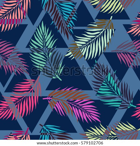 Exotic seamless pattern with tropical leaves on abstract geometric triangular background. Vector fabric, wrapping etc. print.