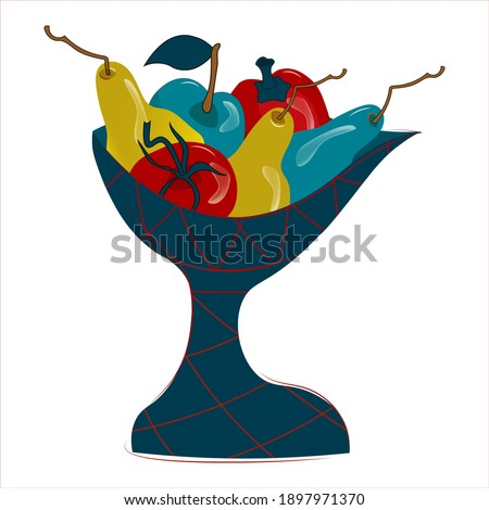 Exotic stylized vase with fresh harvest. Abstract unusual bright fruits. Isolated decorative vector illustration on white background .