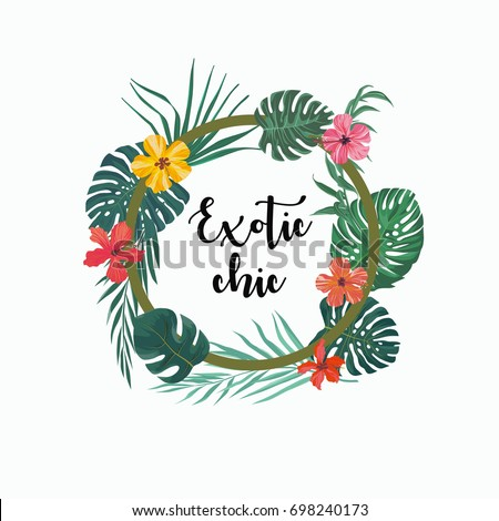 Exotic summer tropical background with leaves, flower. Vector logo, design, template, icon, card, poster etc