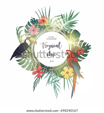 Exotic summer tropical background with leaves, flowers, birds. Vector logo, design, template, icon, card, poster etc