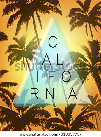 Exotic sunny background with palms.California surf and beach typography.Summer tropical T-shirt graphics print.