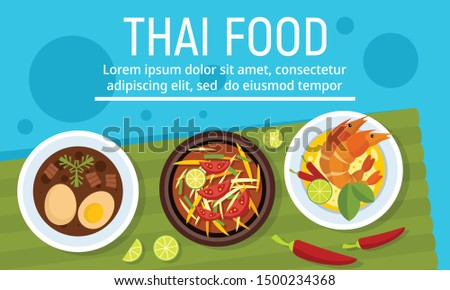Exotic tasty thai food concept banner. Flat illustration of exotic tasty thai food vector concept banner for web design