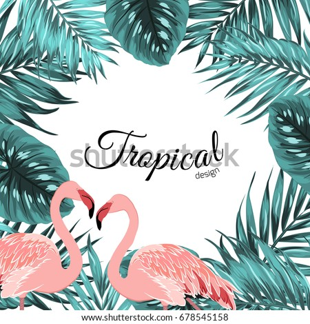 Exotic tropical design border frame template. Turquoise blue green jungle palm tree leaves. Pink flamingo birds couple. Square layout. Text placeholder. Vector design illustration. #678545158