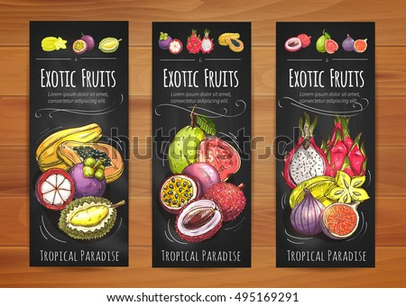 Exotic tropical fruits banners with papaya, star fruit, guava, mangosteen, passion fruit, lychee, fig, dragon fruit and durian fruits. Tropical cocktail, vegetarian dessert, food packaging design #495169291