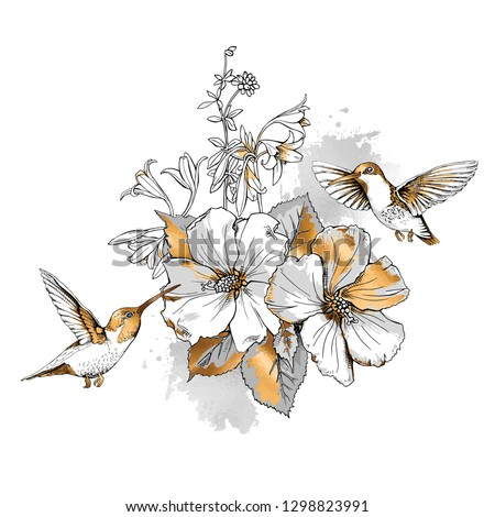 Exotic Tropical Hibiscus flowers and hummingbirds. Gold and silver composition on a white background. Inspiration typography poster, card design, hand drawn style t-shirt print. Vector illustration.