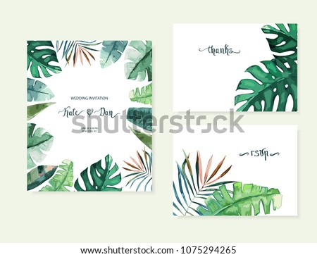 Exotic tropical palm tree. Frame border background. Summer vector illustration. Template set for card. Watercolor style