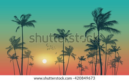 Shutterstock Exotic tropical palm trees  at sunset